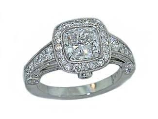 Bead and bezel set diamond milgrainined cushion ring