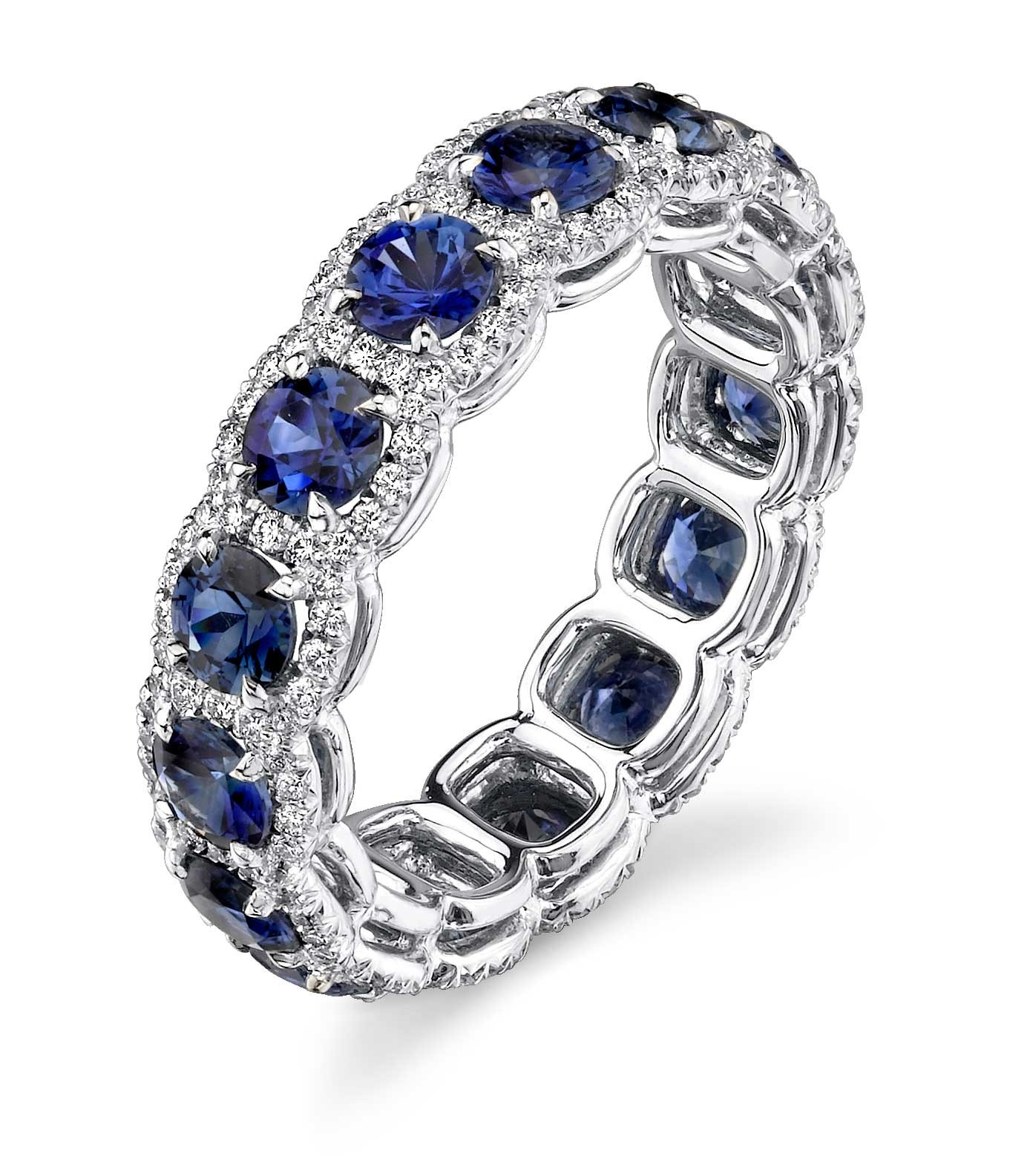 Custom sapphire diamond pave' halo eternity band