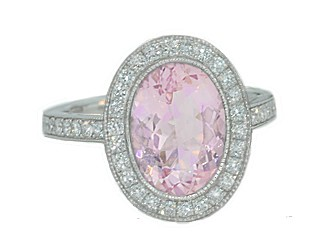 2.60ct Morganite pave' diamond halo milgrain ring