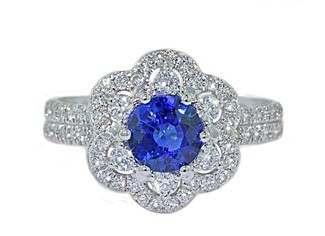 18k wg blue sapphire and pave' diamond floral ring