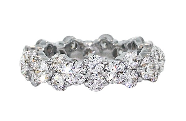 Custom fancy shared prong diamond eternity band