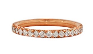 18kk rose gold handmade pave diamond eternity band