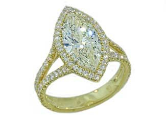 2.7ct Marquise diamond 18k pave' halo split ring