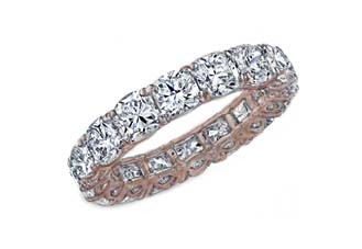 Cushion cut diamond eternity band in rose gold