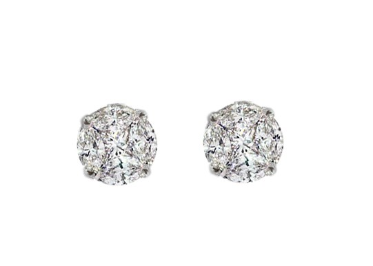 Seamless illusion diamond solitaire style earrings