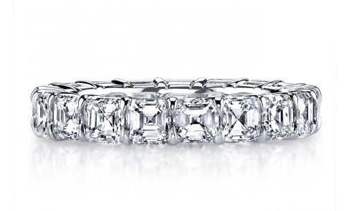 Asscher diamond handmade platinum eternity band