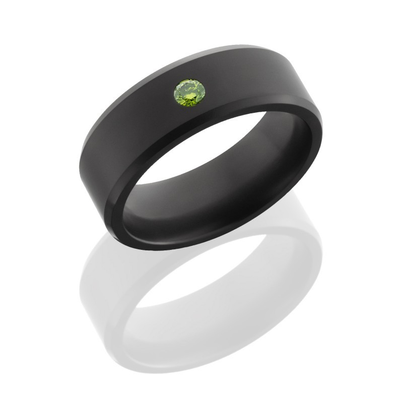 Lashbrook design Elysium style solid black diamond wedding ring with green diamond center E8BDIA Green