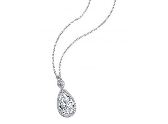 Custom pear brilliant diamond pave' halo pendant