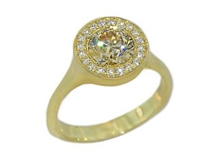 Satin finished 18k champagne diamond halo ring