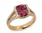 Rose gold 2.14ct radiant pink sapphire ring