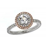 Forevermark double pave' halo diamond ring