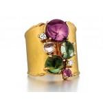 Marika design multi gemstone ring in 14k yellow gold