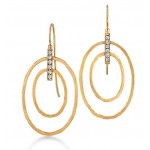 Marika design open oval earrings with diamonds
