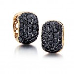 Black diamond pave hoop earrings