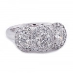 Three Stone Oval Diamond Halo Ring