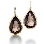 Smokey Quartz earrings in 18k yellow gold