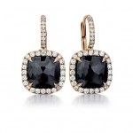 Black diamond drop earrings in rose gold