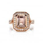 Rose Gold Morganite Emerald Cut Ring