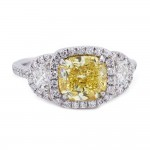 Fancy Intense Yellow Cushion Diamond Ring