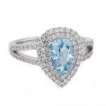Pear Shaped Aquamarine Double Halo Ring