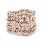 Brown and White Diamond Rose Gold Band