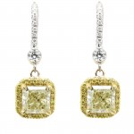 Yellow Diamond Halo Drop Earrings