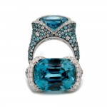 Zircon and Paraiba Ombre Ring