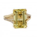 Golden Beryl Split Shank Ring
