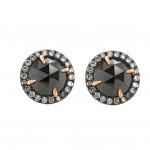 Rose Cut Black Diamond Halo Earrings