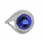 Unique Tanzanite and diamond ring