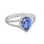 Blue Sapphire pear shape diamond halo ring