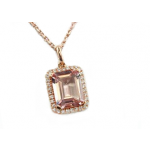 Emerald cut Morganite pave' pendant rose gold