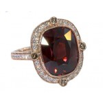 14 carat raspberry zircon and diamond rose gold ring
