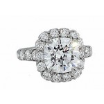 Prong set diamond halo diamond platinum ring
