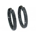 5.96ctw black diamond pave' hoop earrings