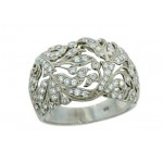 14.5mm wide pierced floral pave diamond band