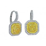 1.51ctw FIY Radiant diamond pave' halo earrings