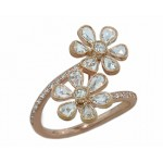 18k rose gold rose cut diamond flower bypass ring