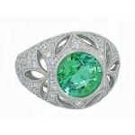 2.86ct Mint tourmaline leaf-motif diamond ring
