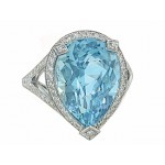 9.13ct pear Aquamarine custom diamond halo ring