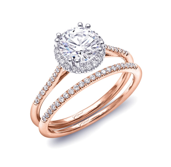 2e30a06b4 Delicate round diamond halo rose gold engagement ring